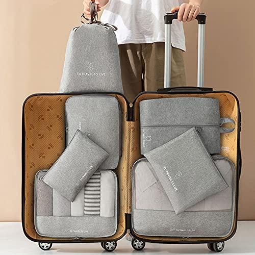 Organizadores de viajes,Bolso De Organizador De Viaje,Bolsa de almacenamiento de maleta,Juego de viaje catiónico de 7 piezas,duradero,impermeable y a prueba de humedad,para Ropa Zapatos Cosméticos