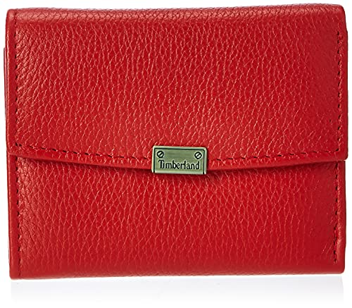 Timberland womens Leather RFID Small Indexer Snap Wallet Billfold, Red, One Size US