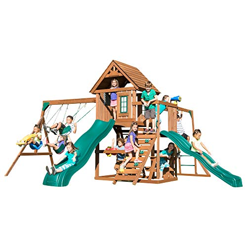Swing-N-Slide WS 8354 Knightsbridge Super Swing Set with Two Slides, Monkey Bars, Climbing Wall, Music Play & Climbing Wall, Wood, Green