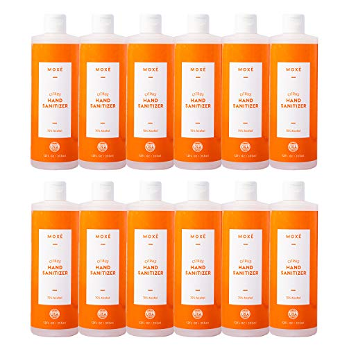 MOXE Citrus Hand Sanitizer Gel 70% Ethyl Alcohol - Made in America, Aloe Vera & Vitamin E, Non-drying, Non-sticky, Gentle and Smooth for Frequent Use, Fights Germs & Bacteria - 12 ounces x 12 bottles