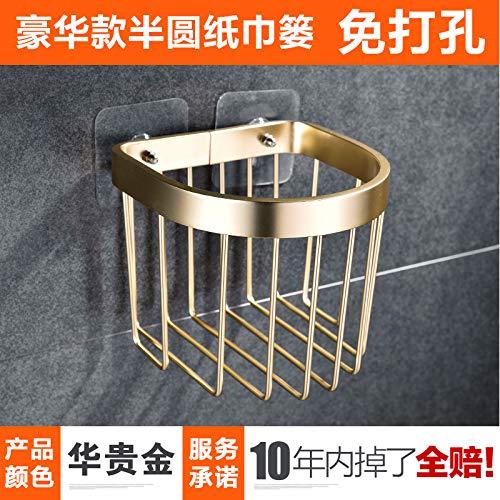 Joeesun Saugnapf Netto Korb Halter Toilettenpapier Box Toilettenpapier Box Rollenhalter frei Stanzen Luxus Abschnitt Luxus Gold halbrunde Gewebe (free punch) B418