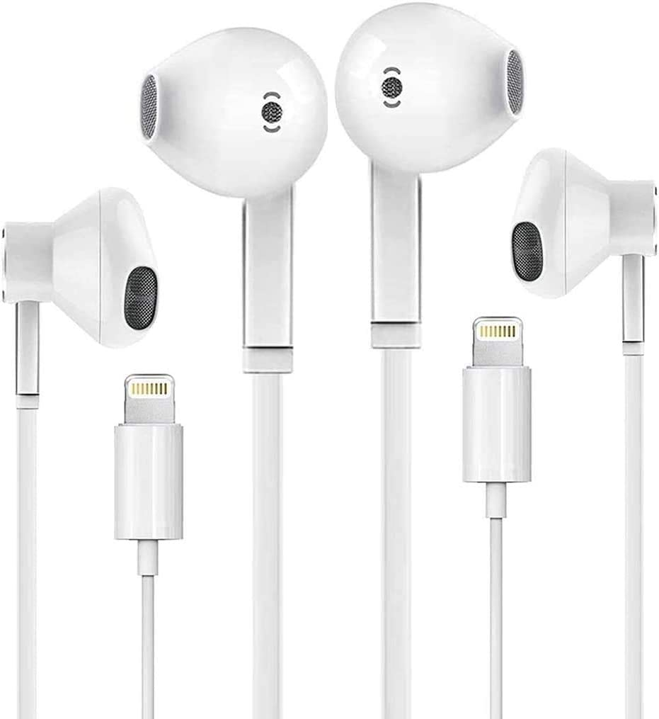 2 Pack-iPhone Earbuds with Lightning Connector(Built-in Microphone & Volume Control) in-Ear Stereo Headphone Headset Compatible with iPhone 12/SE/11/X/8/ipad - All iOS System[Apple MFi Certified]