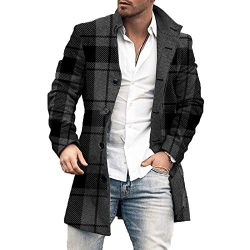 Cappotto Giacca Autunno Inverno da Uomo Cappotto Scozzese di Media Lunghezza in Lana Moda di Strada