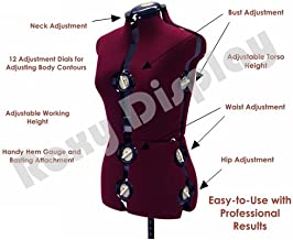 (JF-FH-8) ROXYDISPLAY™ 12-Dial Fabric-Backed Large Adjustable Dress Form with Base,
