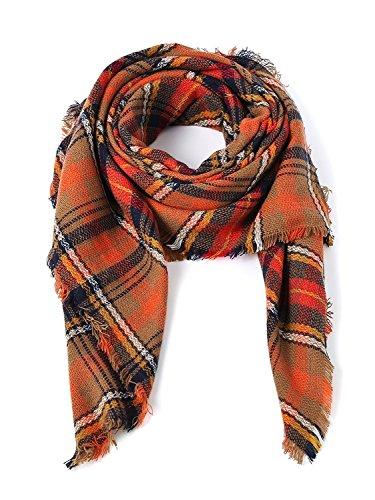Century Star Women's Stylish Warm Tassels Soft Plaid Tartan Scarf Winter Large Blanket Wrap Shawl Beauty Orange