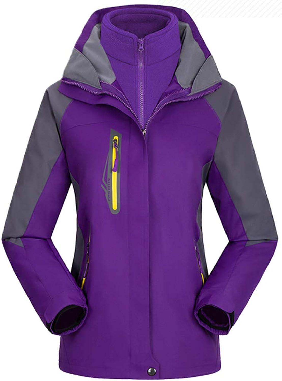AbelWay Women's Mountain Waterproof Windproof Fleece 3 in 1 Jacket Ski Hooded Rain Coat(Purple,S)