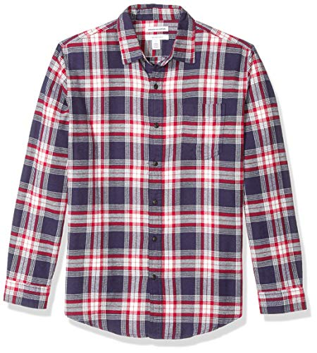 Amazon Essentials Men's Regular-Fit Long-Sleeve Plaid Flannel Shirt, Red/White/Blue, Medium