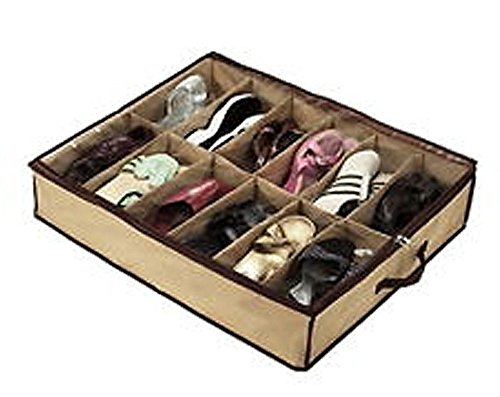 12 paires de chaussures en tissu Tidy Under Bed stockage organisateur titulaire cas Box Bag Placard