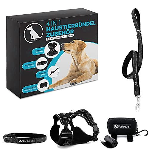 Vertrauen Set - 4 Artikel Hundegeschirr, Hundehalsband, Hundeleine, Hundekotbeutelspender, Anti Zug hundegeschirr - Neue spezielle Hunde geschirrset. (S)