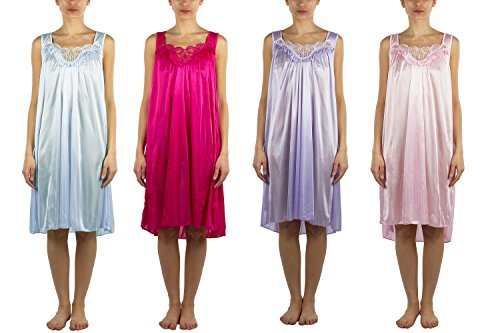 4 Pack of Silky Lace Accent Sheer Nightgowns - Medium to 4X Available (9006) (2X, Pack B)