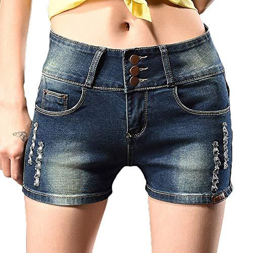 Adelina zomer dames denim shorts High Waist jeansbroek Baggy basic korte modieuze broek met zakken mini hotpants jeans gat korte jeansbroek skinny denim gedragen party dansen clubwear shorts