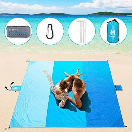 HIHOHO Beach Blanket Large Size 82 X80 for 4 7 Adults Outdoor Sandproof Picnic Blanket Light product image