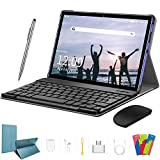 4G LTE Tablet 10 Zoll - Android 9.0 Zertifiziert von Google GMS, 2 in1 Tablet mit Tastatur 4 GB RAM und 64 GB ROM, 8000 mAh Quad-Core, Dual SIM,WiFi,Bluetooth, GPS, OTG, Typ C - Blau