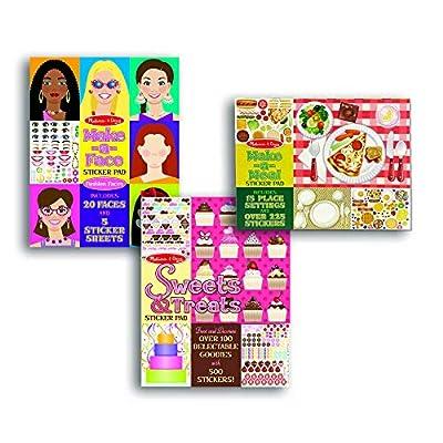 Melissa & Doug Sticker Pads Set: Sweets and Treats, Make-a-Face Fashion, and Make-a-Meal