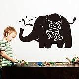 walplus adesivo da parete, motivo lavagna a forma di elefante, pvc, nero, 92 x 60 cm