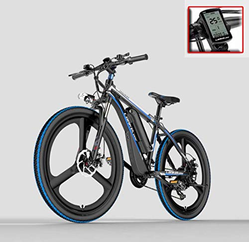 AISHFP Adult 26 Inch Electric Mountain Bike, 48V Lithium Battery Electric Bicycle, with Anti-Theft Alarm/Fixed-Speed cruise/5-gear assist/21 Speed,D