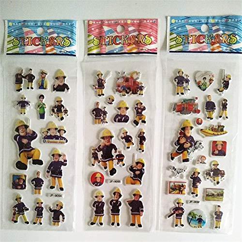 BLOUR 6 Piezas Pegatinas de Dibujos Animados Fireman Sam para niños Salas de educación Infantil Decoración para el hogar Agenda Notebook Label Toy 3D Fire Truck Sticker