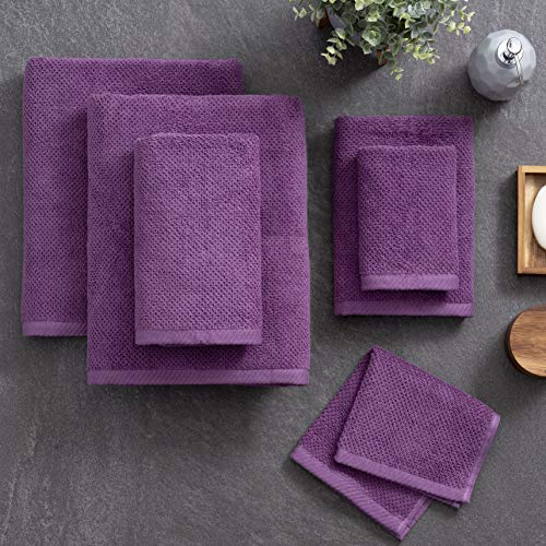 Welhome Franklin 100% Cotton Textured Towel Plum  Set of 6  Highly Absorbent  Combed Cotton  Durable  Low Lint  600 GSM  Machine Washable  2 Bath Towels  2 Hand Towels  2 Wash Towels