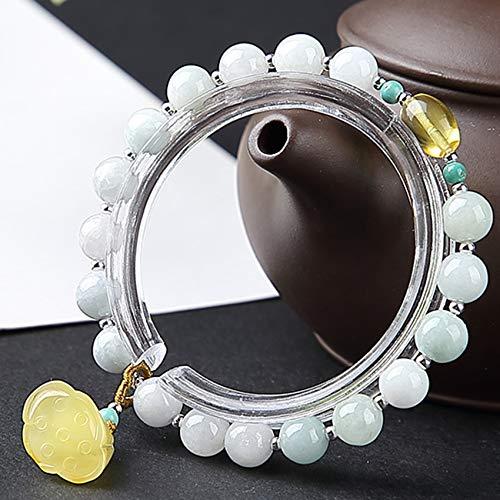 Feng Shui Wealth Pixiu Pulsera para Mujer Jade Pixiu Pi Yao Lotus Money Bolsa Cinnabar Pixiu Elástico A Mano Tallado Mantra Bead Talisman para Prosperidad Dinero Buena Suerte,Lotus