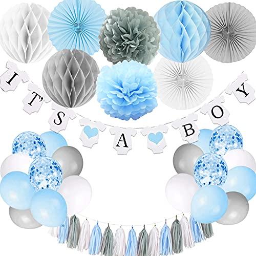 Decoración de baby shower para niño, es un niño bandera con pompones de papel, bola de panal de abanico de papel, borla de papel de aluminio, azul y gris It's a boy Baby Shower Decoraciones