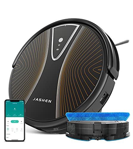 Jashen S10 robot WiFi aspiradora para alfombras y suelos, tecnología de detección de suciedad, limpieza programable, gracias a la aplicación, negro