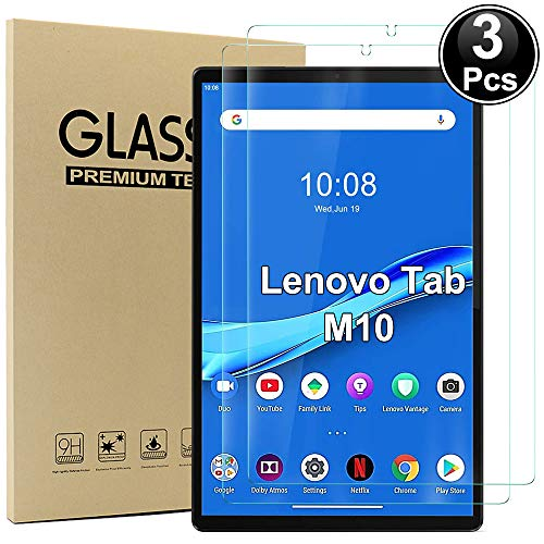 Ash-case [3 Pack] Compatible with Lenovo Tab M10 FHD Plus 10.3 - Tempered Glass Screen Protector - [3D Round Edge][9H Hardness] [Crystal Clear][Scratch Resist],Clear