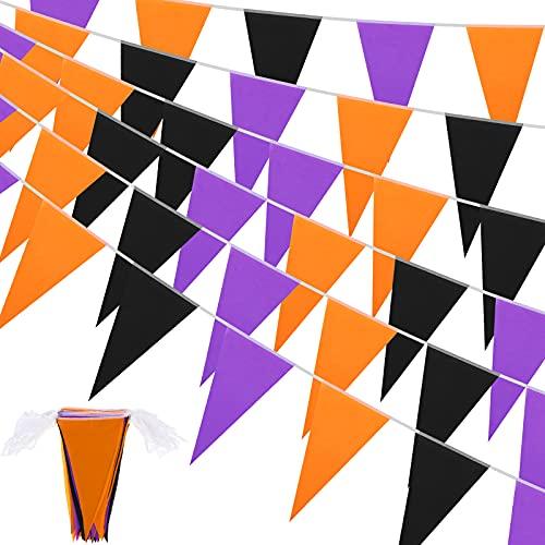 Halloween Wimpel Banner Halloween Party Dekoration Schwarz Lila & Orange Wimpel Banner Dreieck Flagge Banner für Halloween Outdoor Indoor Dekoration Geburtstag Party