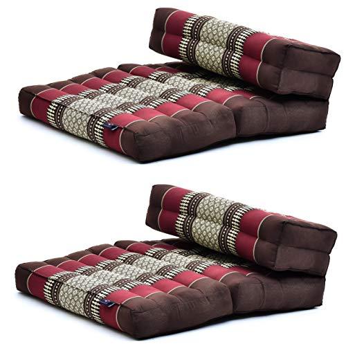 Leewadee 2 Pezzi Cuscino Meditazione Cuscini da Pavimento Meditazione Accessori Sedile Pieghevole Prodotto Ecologico, Kapok, Marrone Rosso