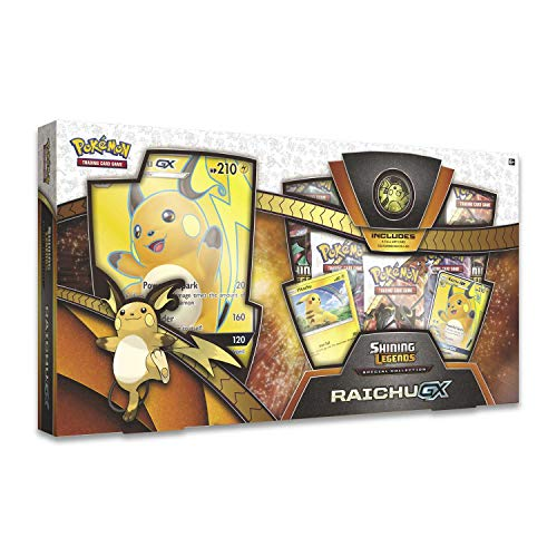 Pokemon TCG: Shining Legends Special Collection Box Trading Card Set, 5 Booster Packs, 1 Rare Foil Raichu-GX Card, 1 Foil Pikachu Promo Card, 1 Oversize Foil & More