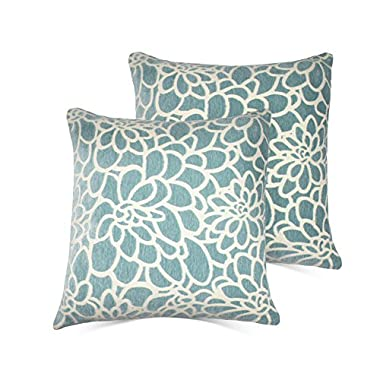 Set of 2 Throw Pillow Covers Coastal Cushions 100% Cotton Home Decorative 18 x 18 inch Soft Pillow Case Covers Invisible Zipper Decorative Pillow Case No Pillow Insert Furniture Cushions (01-Blue)