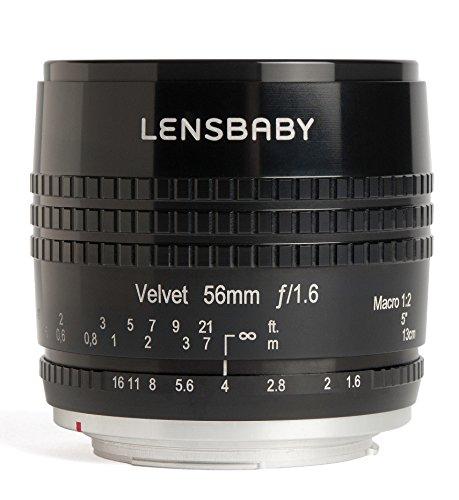 Lensbaby Velvet 56 Fuji X / Porträt und Makro Objektiv / ideal für samtige Bokeh-Effekte und kreative Unschärfe / Brennweite 56 mm, Blende f/1,6 / 1:2 Makro Vergrößerung mit 13 cm Naheinstellgrenze / passend für Fuji Systemkameras / schwarz