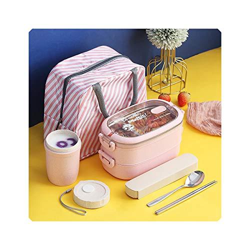 Caja de almuerzo con compartimento aislado, de acero inoxidable, color rosa