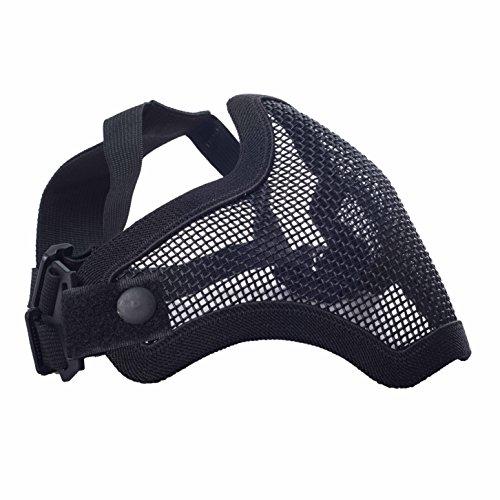 Militar-TLD Mascarilla protectora para airsoft (cinta elástica ajustable, rejilla metálica), color negro Envio 24 horas