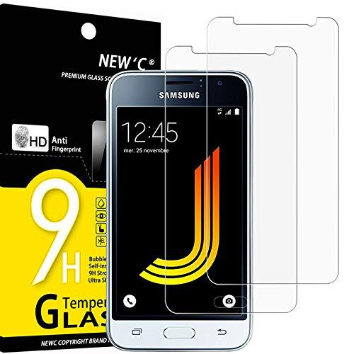 NEW'C 2 Stück, Schutzfolie Panzerglas für Samsung Galaxy J1 2016, Frei von Kratzern, 9H Festigkeit, HD Bildschirmschutzfolie, 0.33mm Ultra-klar, Ultrawiderstandsfähig