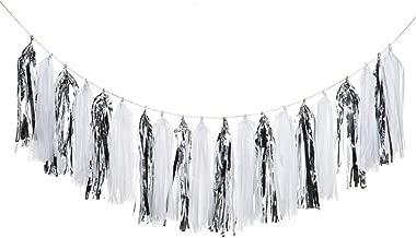 20PCS Shiny Tassel Garland Tissue Paper Tassel Banner,Table Decor,Tassels Party Decor Supplies for Wedding,Birthday,Bridal/Baby Shower,Anniversary,DIY Kits - (White/Silver)