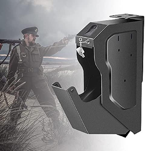 AACXRCR Armadi sicuri di Pistola, Scatola di Pistola sicura in Acciaio con Impronta Digitale Biometrica e Chiave di riserva, Pistole di Sicurezza Cassaforte Facile da installare, Scatola di Sicurezza