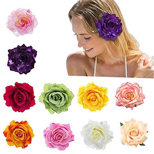 Lazz1on Blumen Haarspangen Haarclip Blume 10 stücke Mehrfarbig Rosen Haarnadeln Haarschmuck für Mädchen Frauen Party Hochzeit Strand