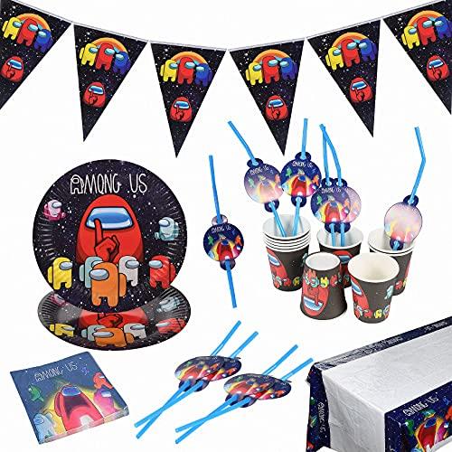Accesorios de Decoración, Fiesta de Cumpleaños, Decoración de Cumpleaños para Niños, Game Theme Vajilla de Fiesta Temática, Platos,Tazas, Servilletas, Manteles