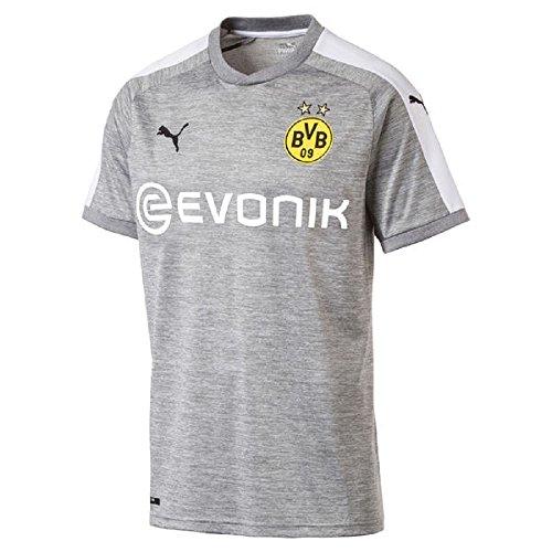 PUMA Herren BVB 3rd Replica Shirt with Sponsor Logo T, Light Gray Heather-White, S