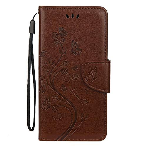 Sunrive Hülle Für BQ Aquaris X2/X2 Pro, Magnetisch Schaltfläche Ledertasche Schutzhülle Hülle Handyhülle Schalen Handy Tasche Lederhülle(Prägung braun s) MEHRWEG
