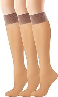 Hanes Women`s Set of 3 Alive Full Support Sheer Knee Highs
