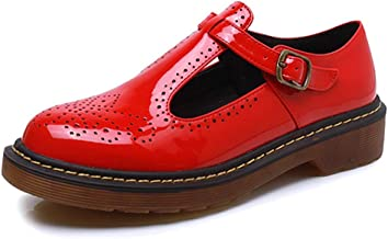 Women's Classic Buckle T-Strap Oxfords Breathable Patent Platform Brogue Mary Jane Shoes