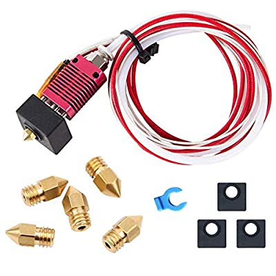 Tresbro Assembled MK8 Extruder Hot End Kit Original Replacement Parts for Creality CR-10 3D Printer, 1.75mm Filament, 0.4mm Nozzle,12V 40W