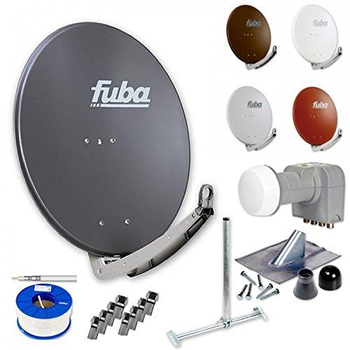 Fuba Digital HDTV Sat-Anlage 4 Teilnehmer | Fuba DAA 780 Premium Aluminium Sat-Antenne in Wunschfarbe + DEK 416 Quad LNB + Fuba DSP Dachsparrenhalter + 100m Fuba KKE 740 Koaxialkabel + Montageset