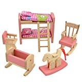 Vktech Wooden Dollhouse Funiture Kids Child Room Set Play Toy (Bunk Bed)