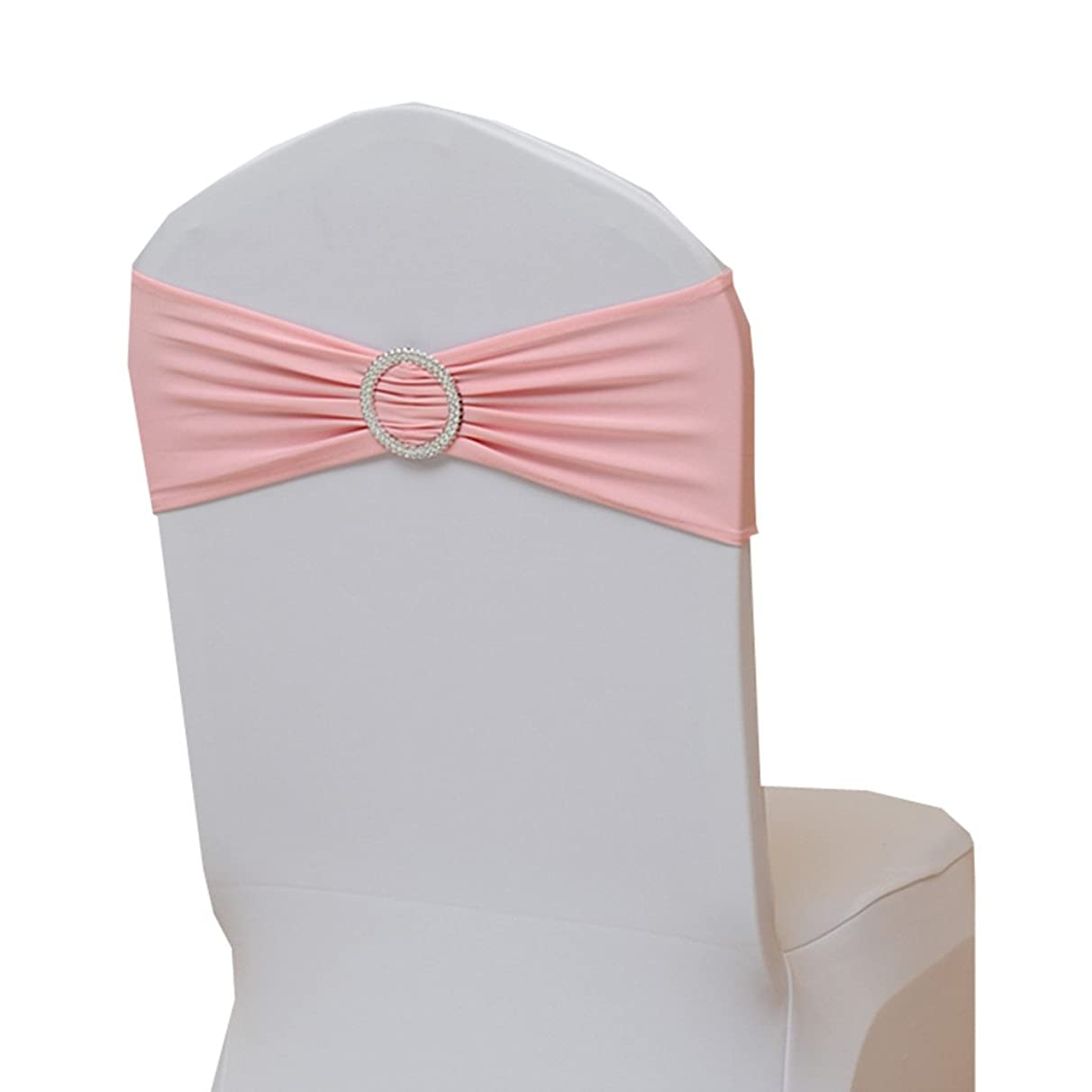 Fvstar 10pcs Pink Wedding Chair Sashes Party Chair Tie Ribbons Spandex Chair Bows for Baby Shower Valentines New Year Event Decorations Without White Covers