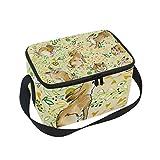 Bolsa de almuerzo aislada con diseño de liebre de animales con correa para la escuela, oficina, picnic, para hombres, mujeres, adultos y niños