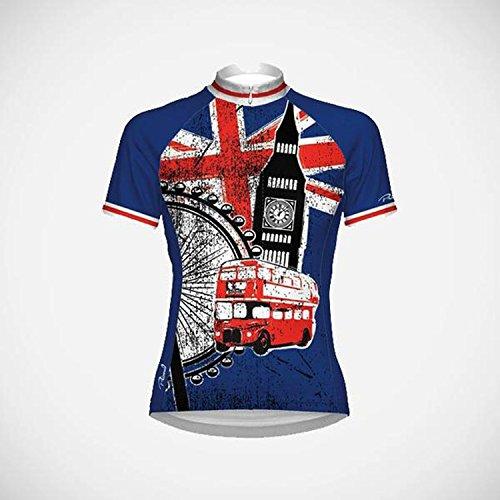 Primal Europe Damen Radtrikot London Cycling Jersey, Rot/Weiß/Blau, S