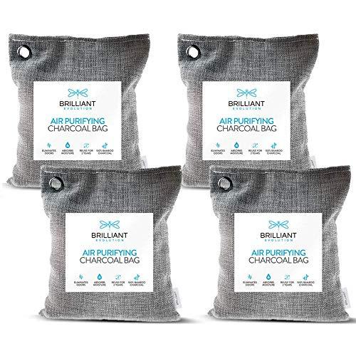 Brilliant Evolution Bamboo Charcoal Air Purifying Bag 220g 4 Pack | Car Air Freshener | Closet...