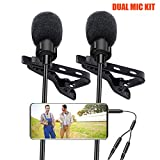Lavalier Lapel Microphone, Kuyang 2 Pack Omnidirectional Mic for...